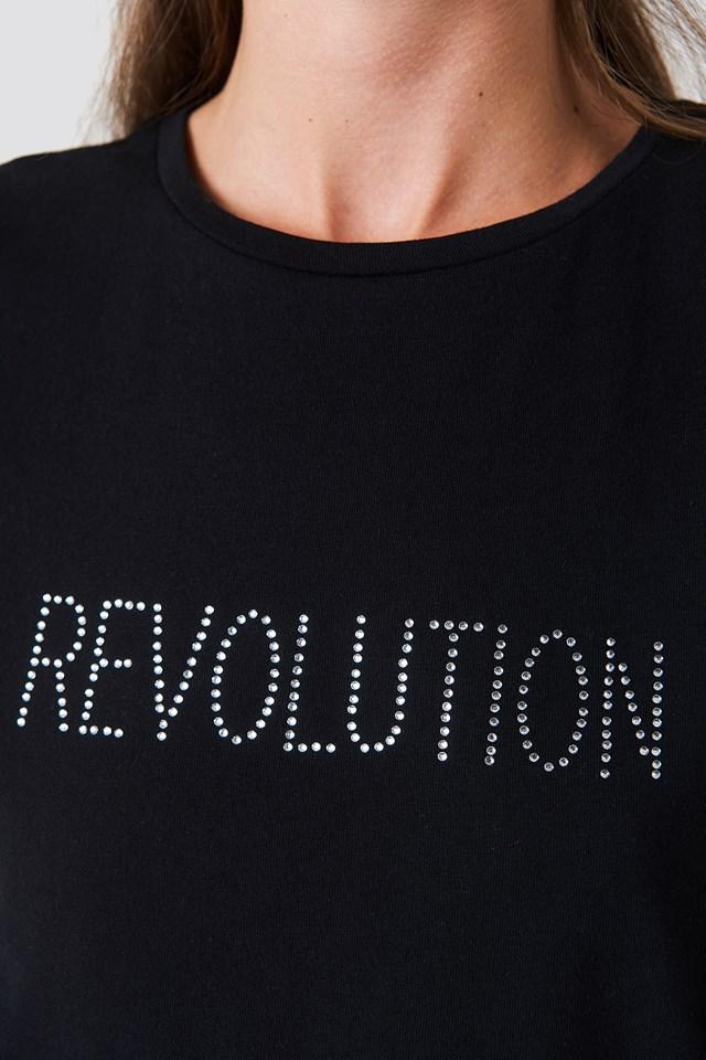 Revolution Glittery Tee Black