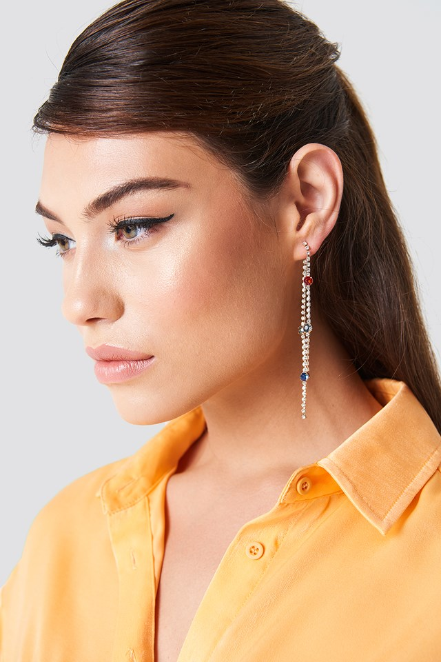 Rhinestone Back Chain Earrings Multicolor