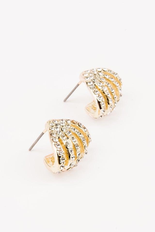 Rhinestone Clip Earrings Gold