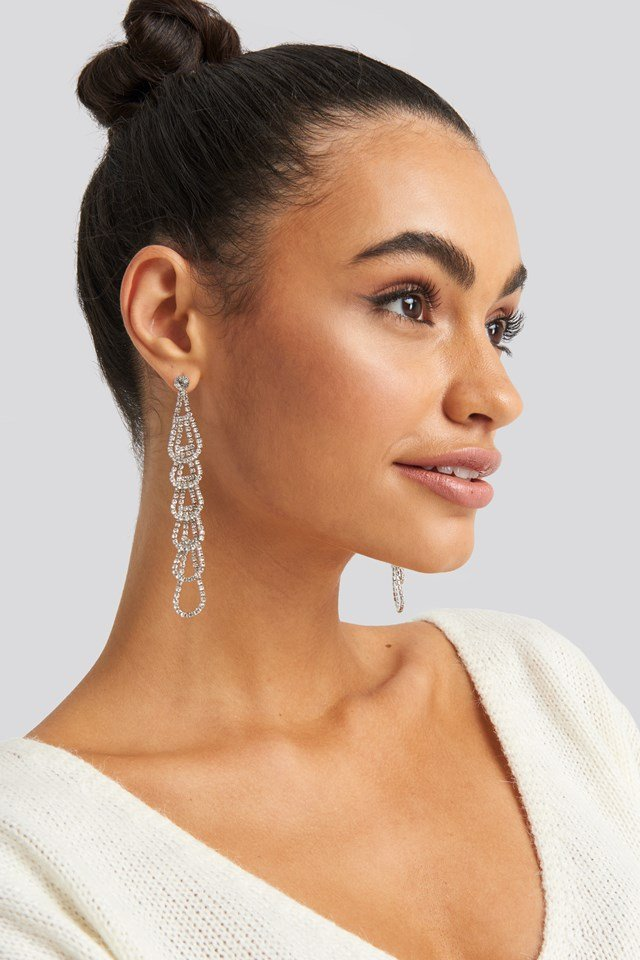 Rhinestone Connected Drops Earrings NA-KD Accessories