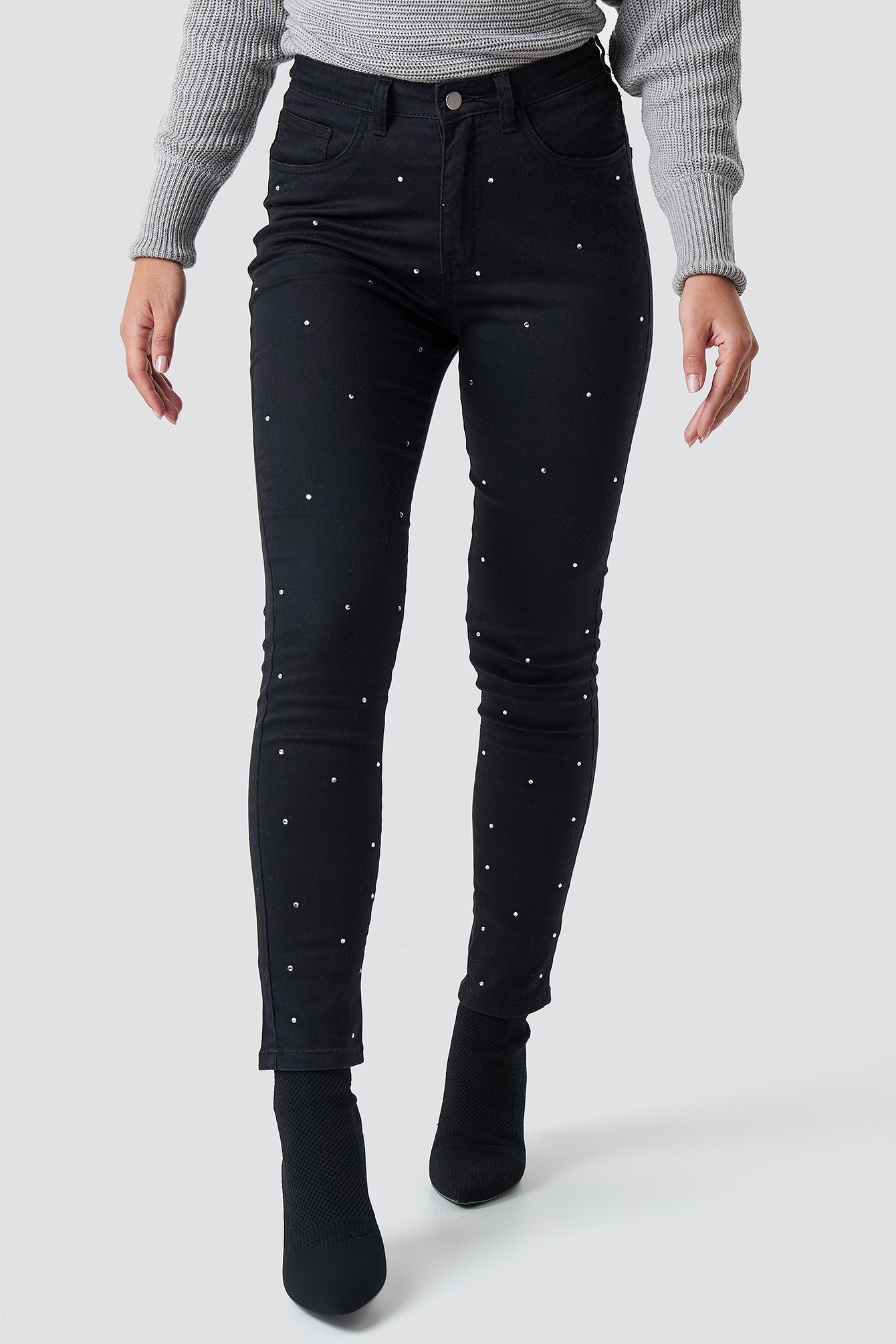 Black Rhinestone Denim