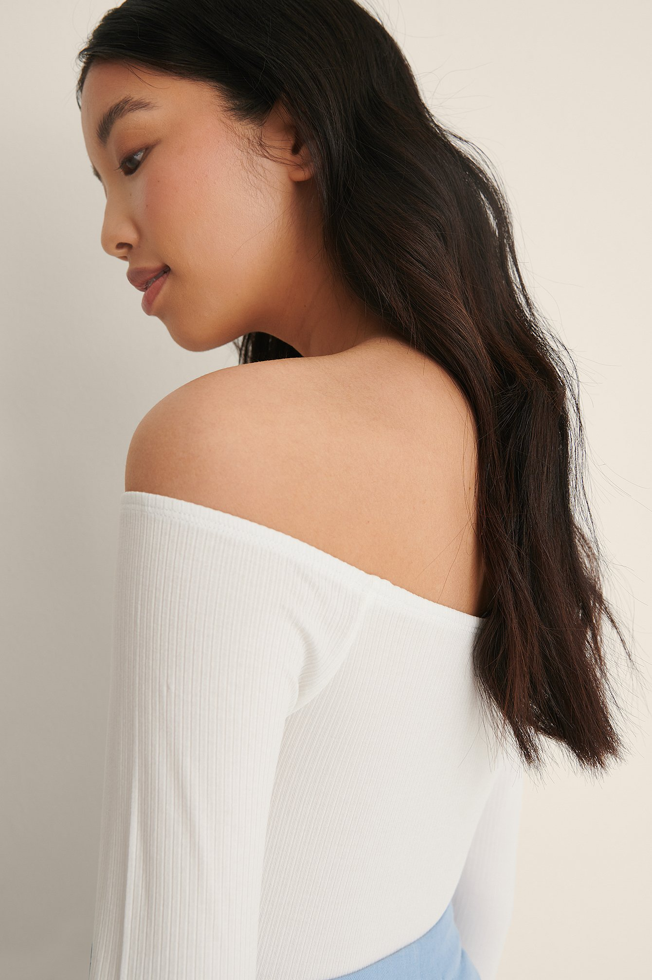 Offwhite Rib Bare Shoulder Top