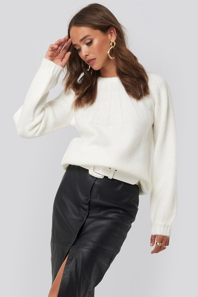 Rib Detail Knitted Sweater Offwhite