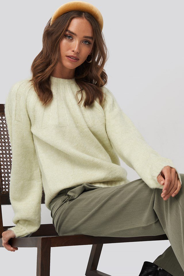 Rib Detail Knitted Sweater Pastel Green