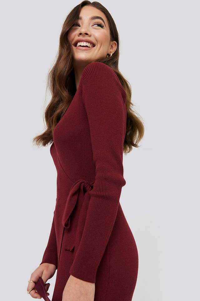 Rib Knitted Dress Burgundy