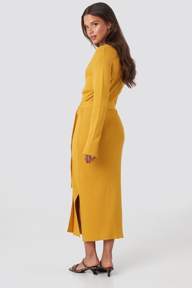 Rib Knitted Dress Mustard