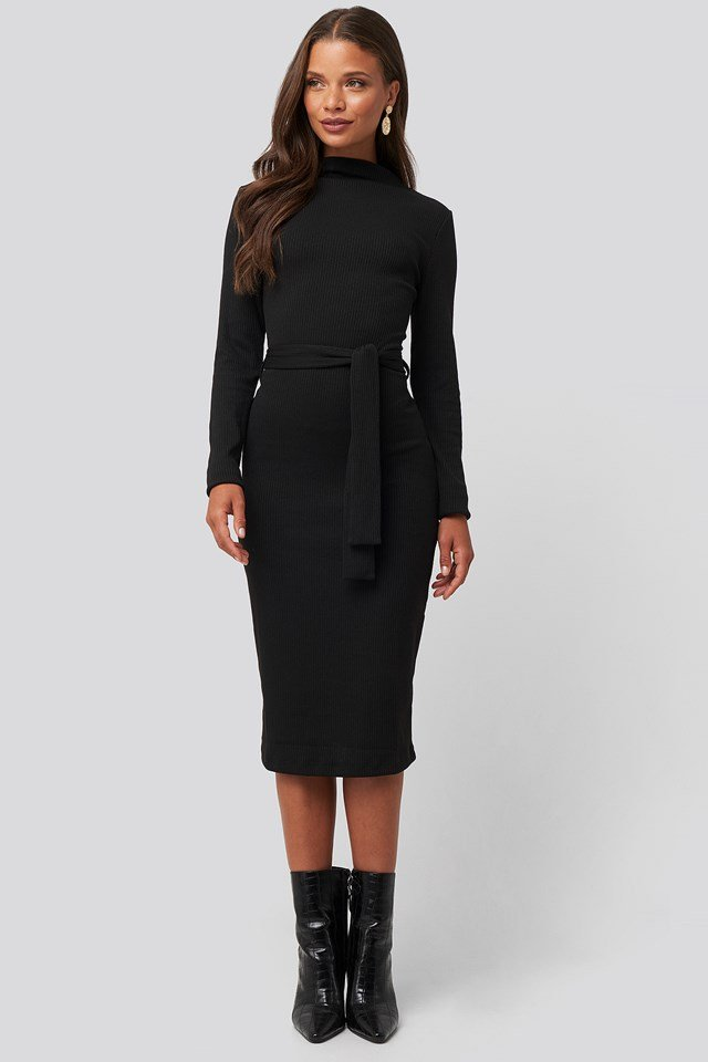 Belted Rib Knitted Dress Black