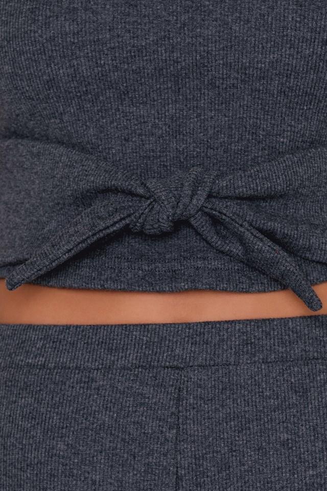 Rib Knitted Knot Top Dark Grey