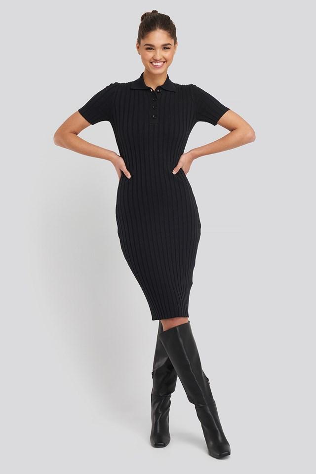 Rib Knitted Midi Dress Black