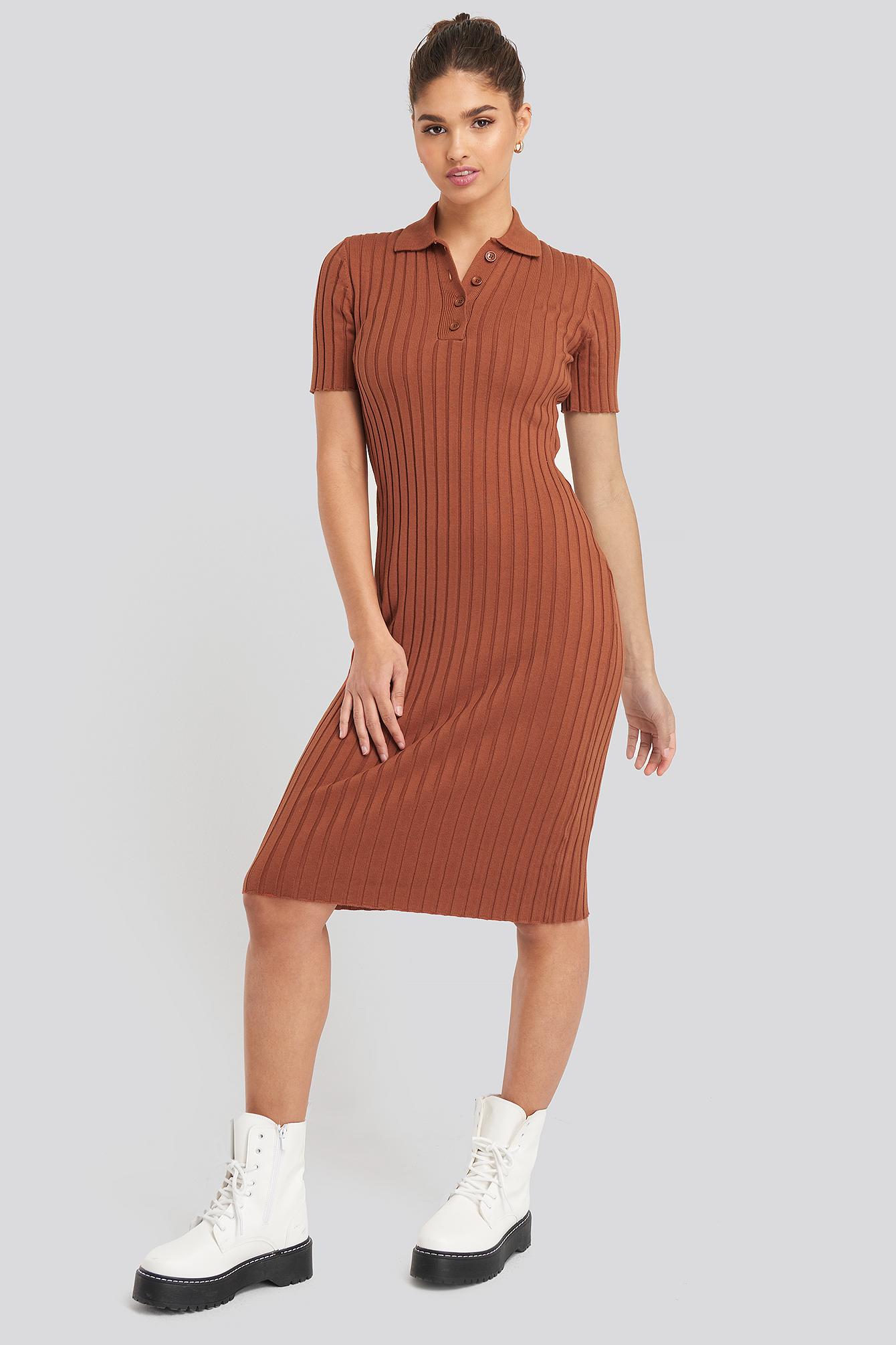 NA-KD Rib Knitted Midi Dress - Brown