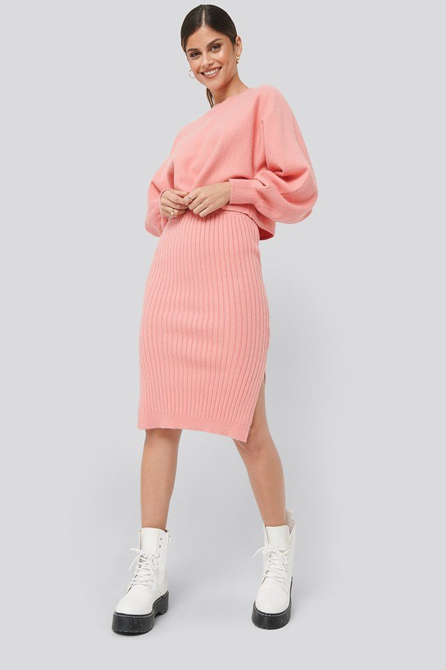 Rib Knitted Skirt Pink