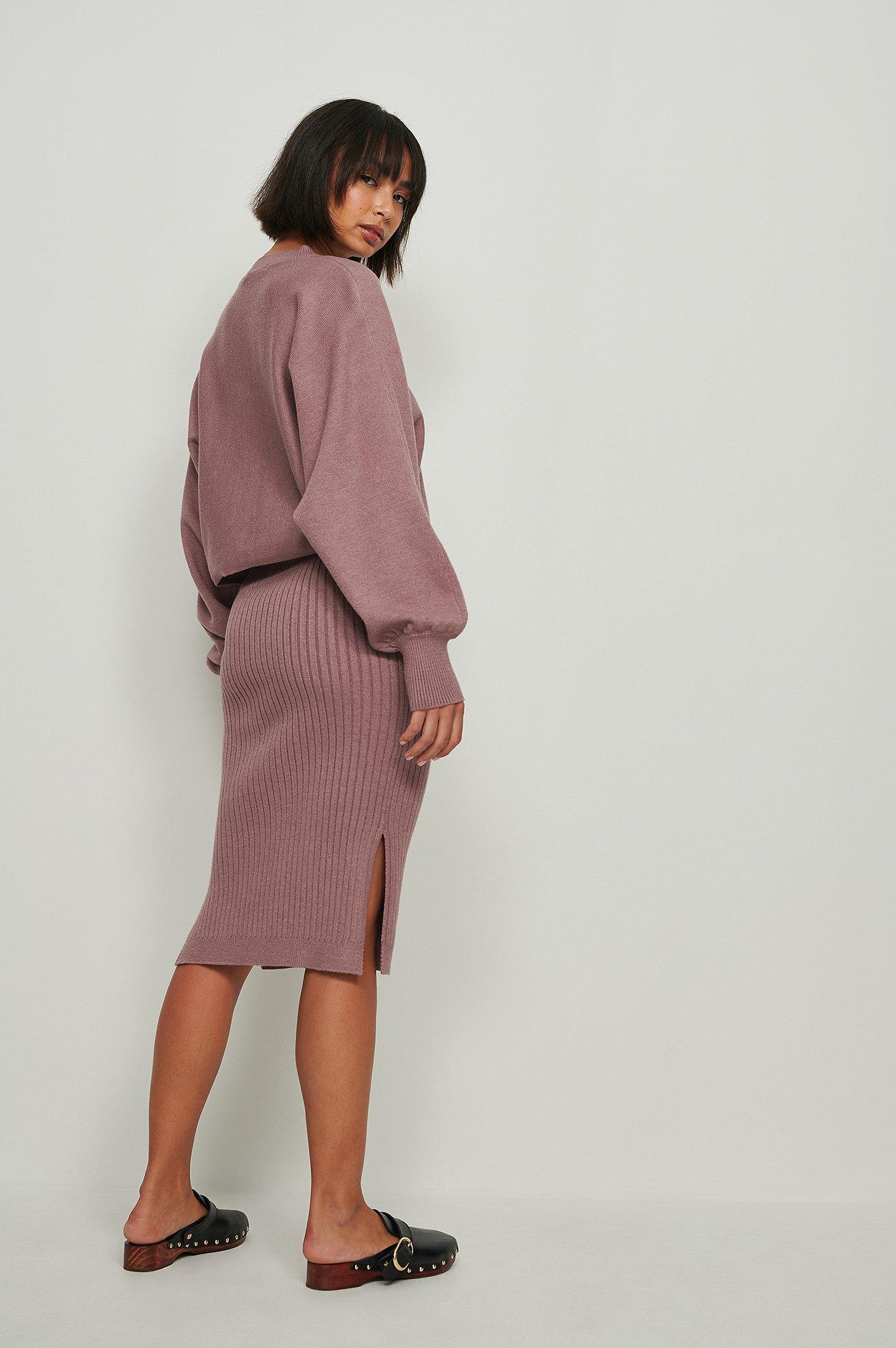 NA-KD Ribstrikket Nederdel - Purple