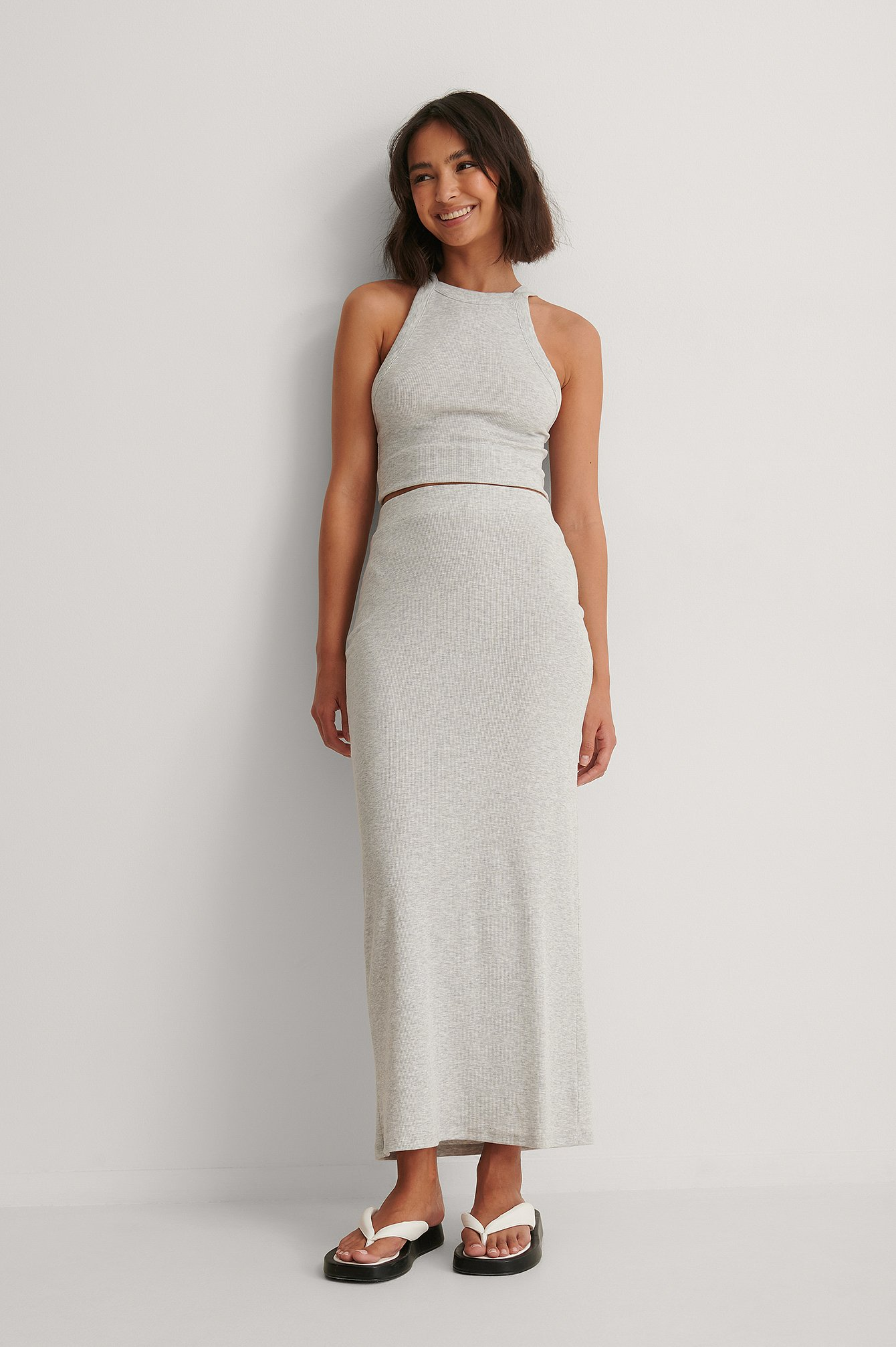 Grey Melange Rib Maxi Skirt