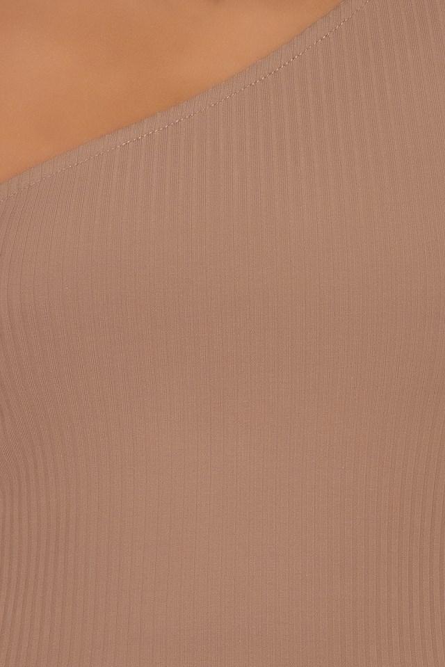 Rib One Shoulder Crop Top Mauve