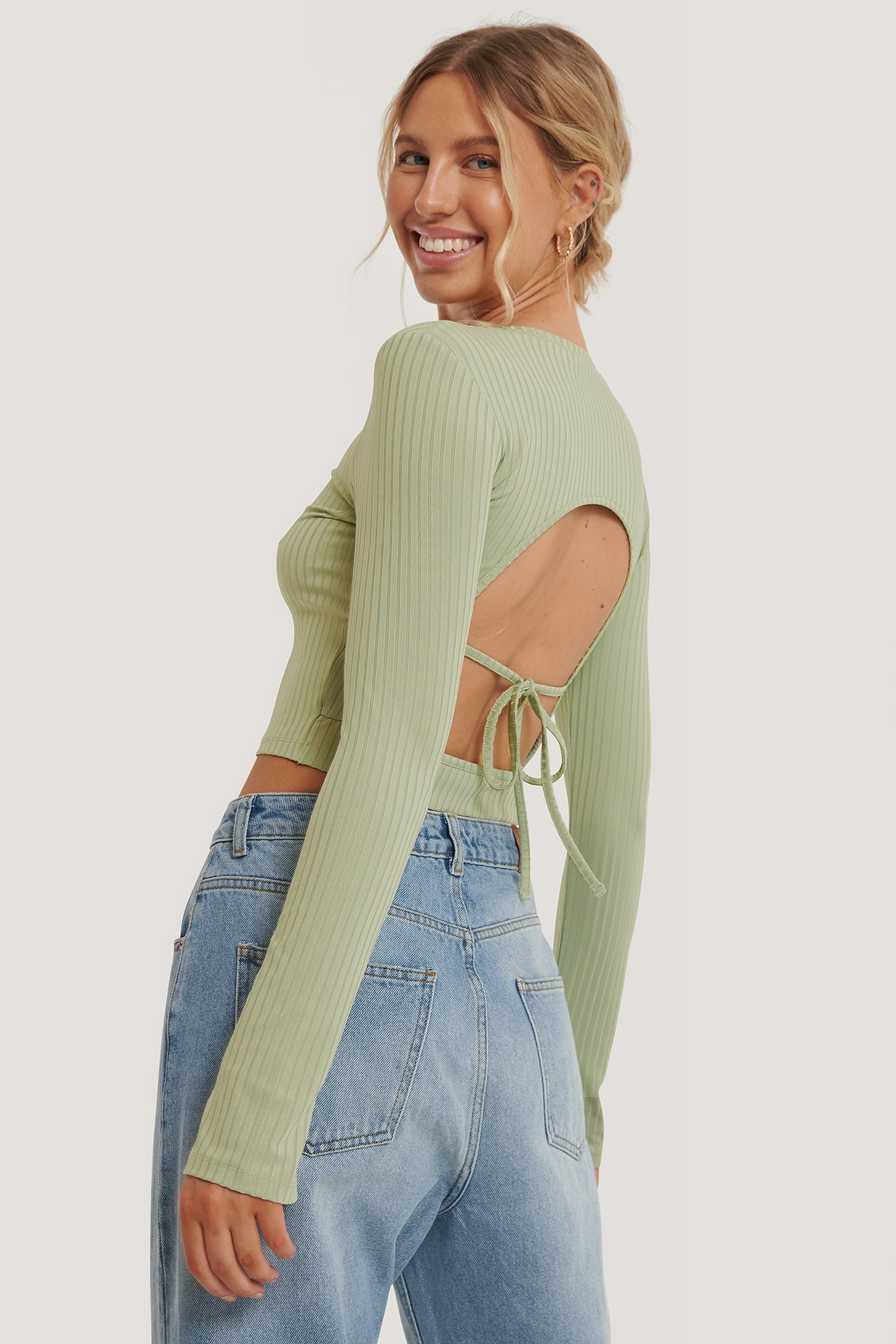 Khaki Rib Open Back Top