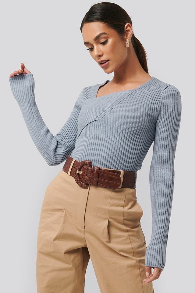 Ribbed Asymmetric Sweater Dusty Light blue