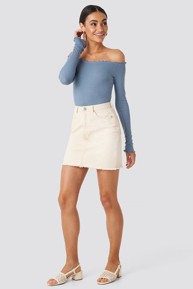 Ribbed Babylock Off Shoulder Body Dusty Blue