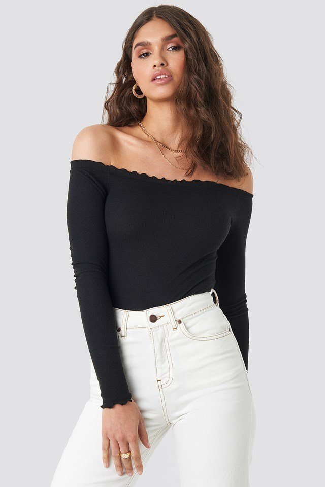 Ribbed Babylock Off Shoulder Body Black