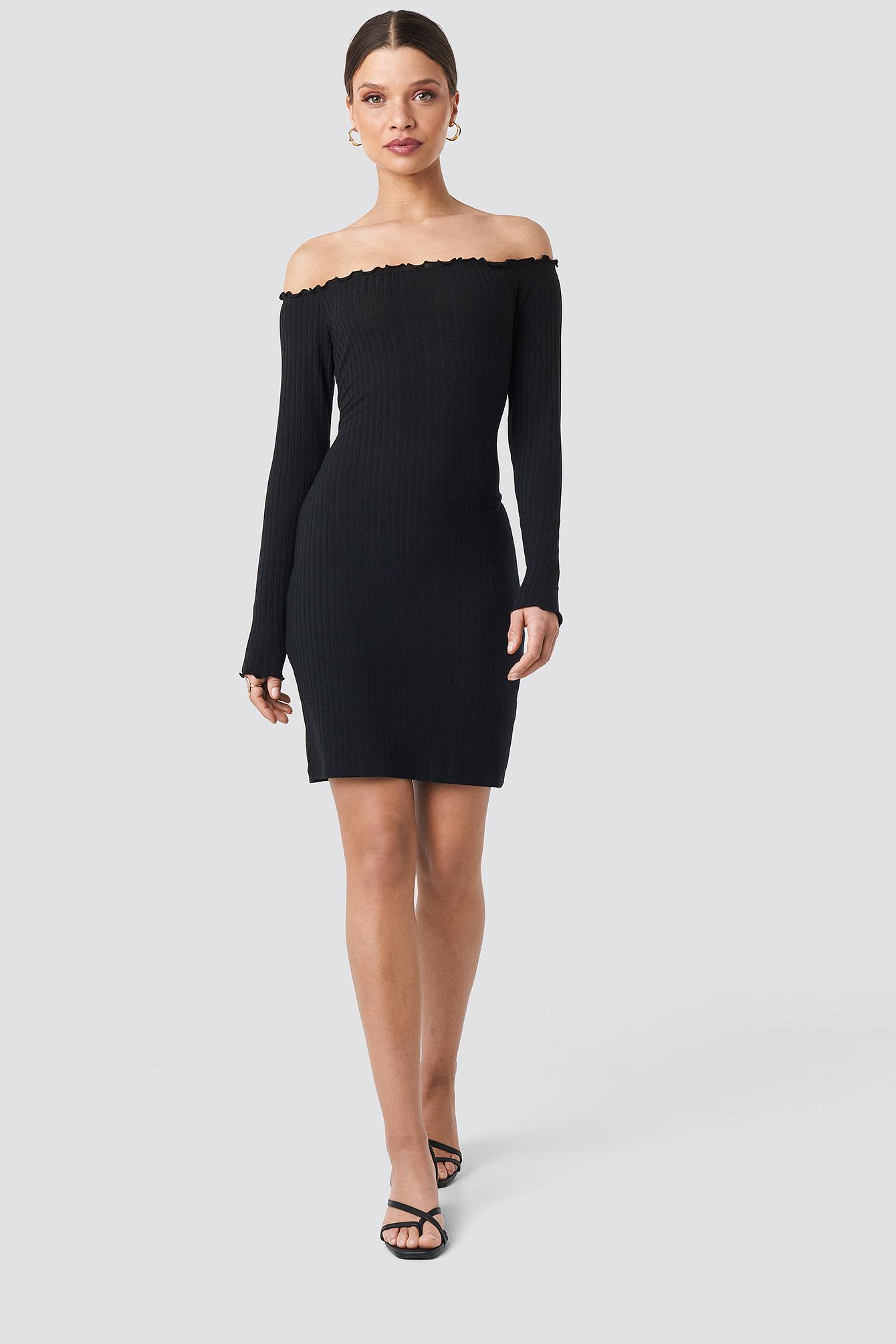 Ribbed Babylock Off Shoulder Dress NA-KD.COM