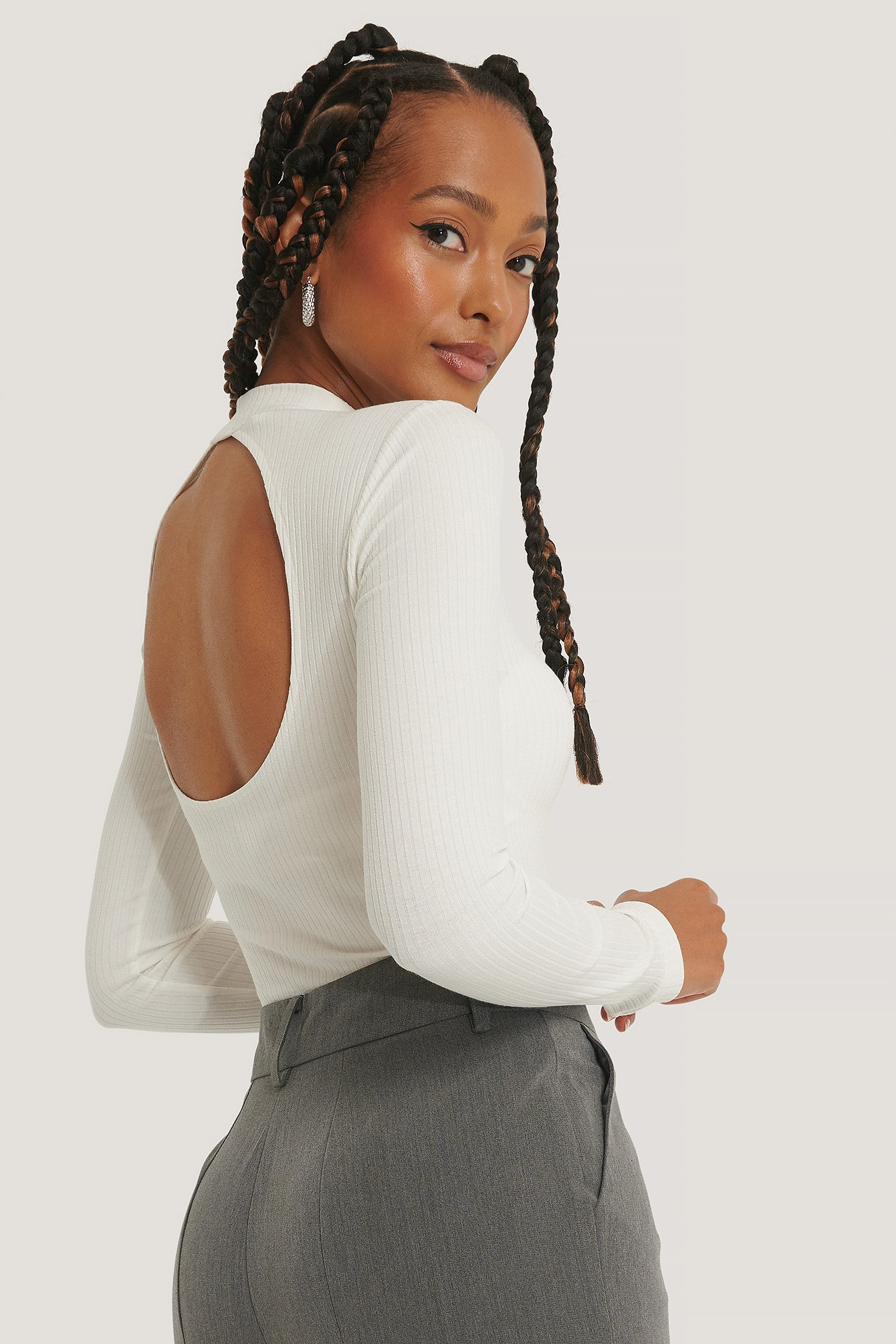 NA-KD Trend Ribbed Back Detail Top - Offwhite