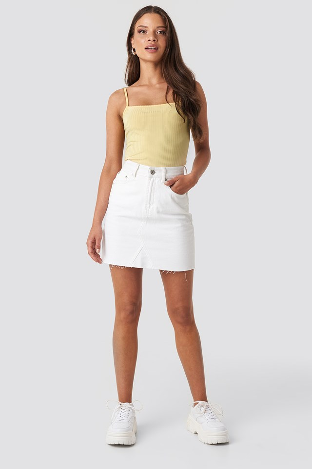 Ribbed Bandeau Strap Singlet Light Yellow