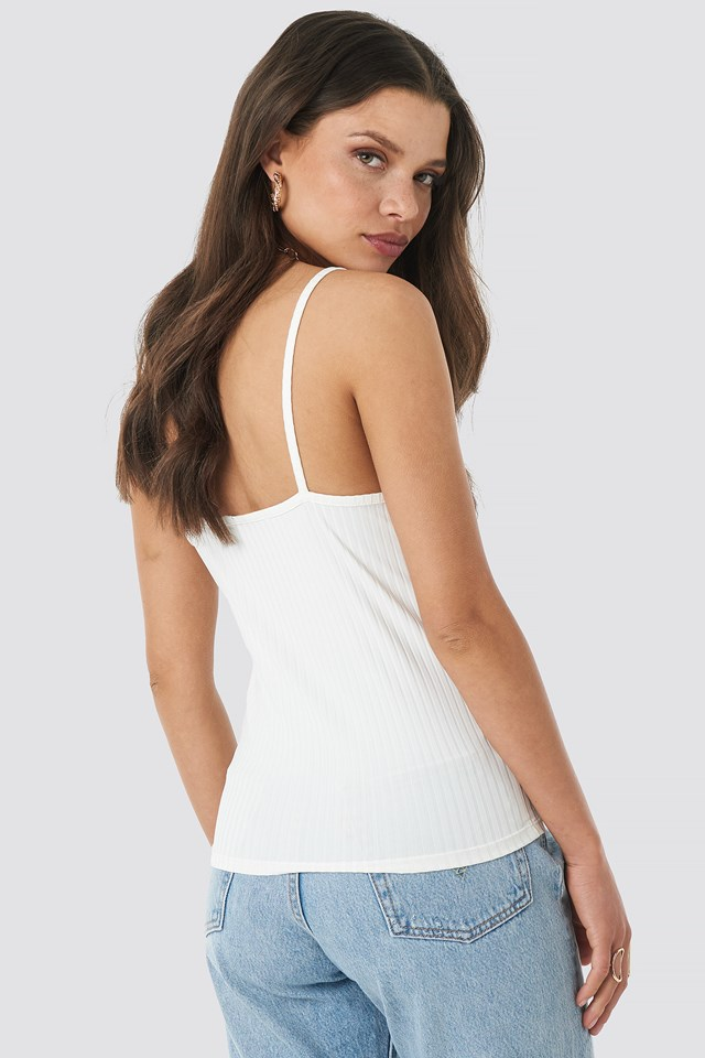 Ribbed Bandeau Strap Singlet Offwhite