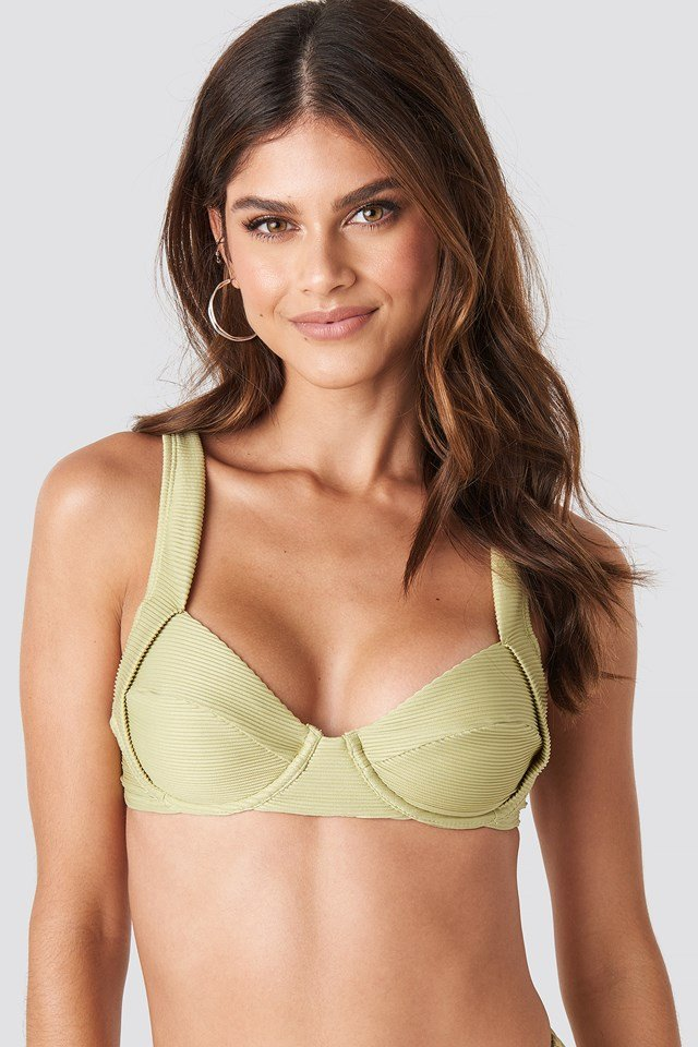 Ribbed Bikini Cup bra Dusty Light Green