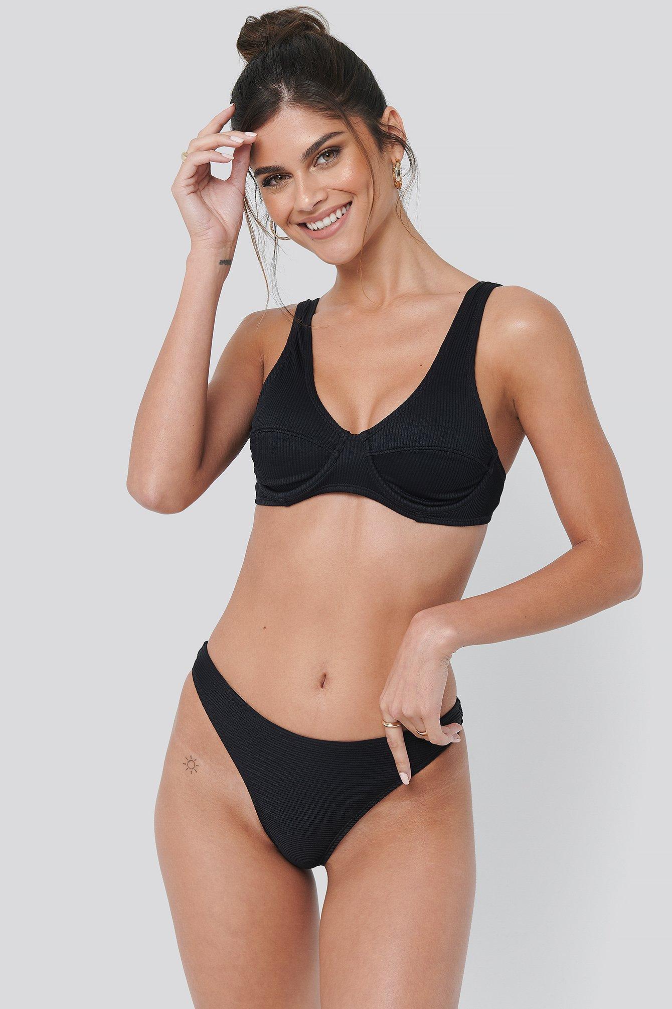 NA-KD Swimwear Ribbed Bikini Panty - Black