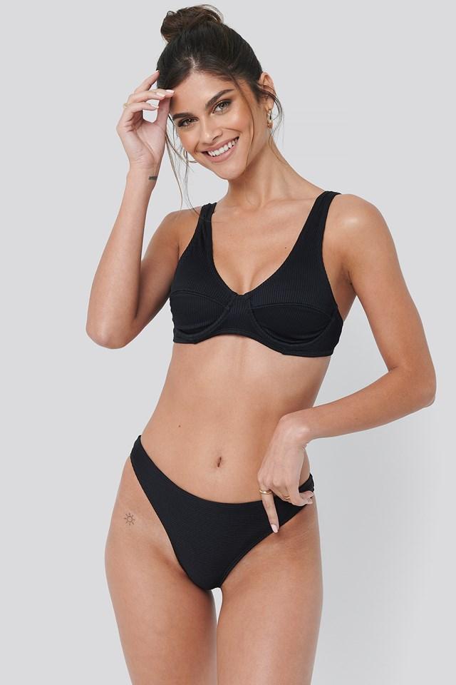 Ribbed Bikini Panty Black