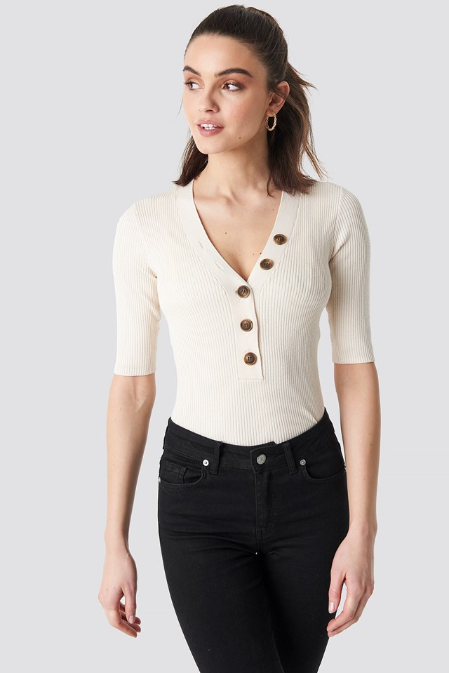Ribbed Button Short Sleeve Top NA-KD Trend