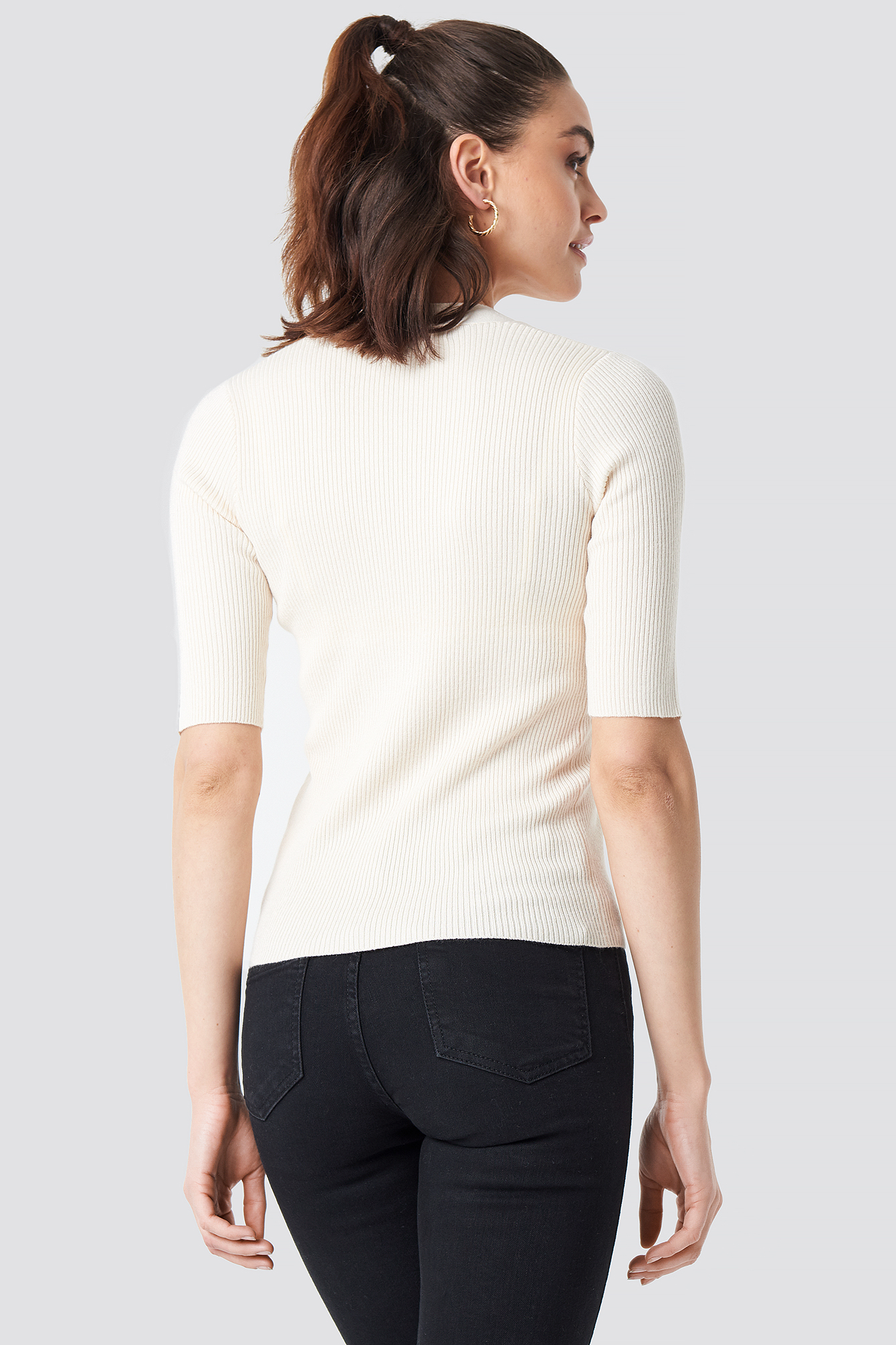 Ribbed Button Short Sleeve Top NA-KD.COM