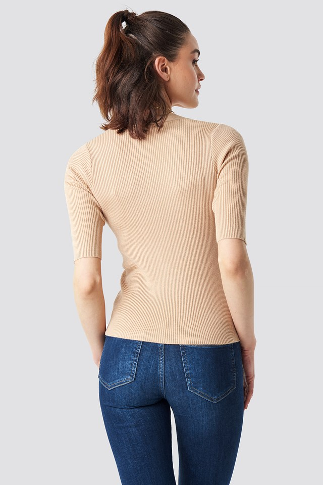 Ribbed Button Short Sleeve Top Beige