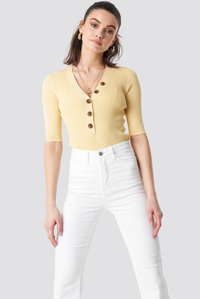 Ribbed Button Short Sleeve Top Light Yellow