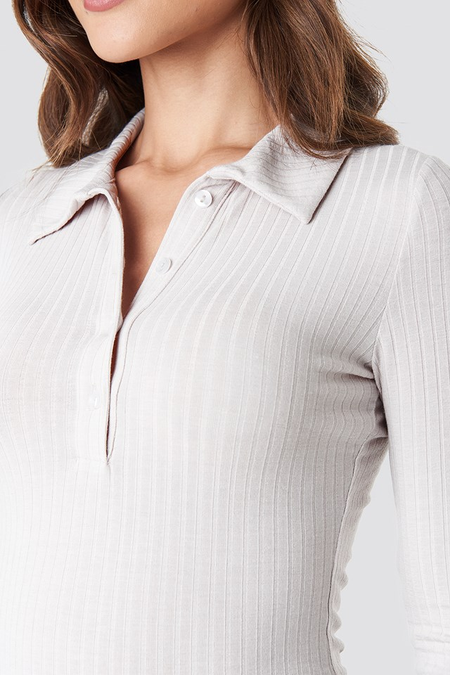 Ribbed Button Top Dusty Light Beige