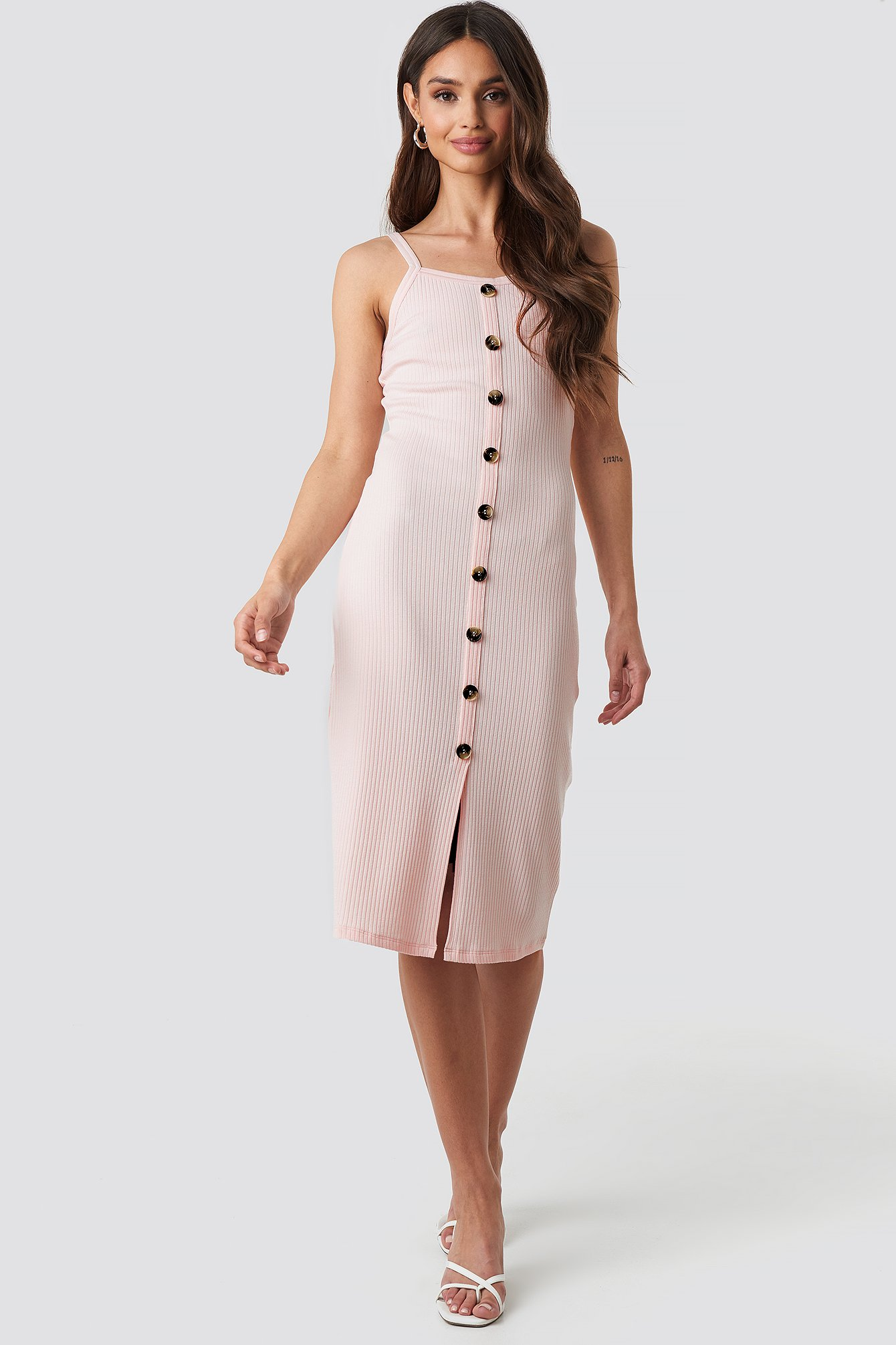 na-kd -  Ribbed Button Up Midi Dress - Pink
