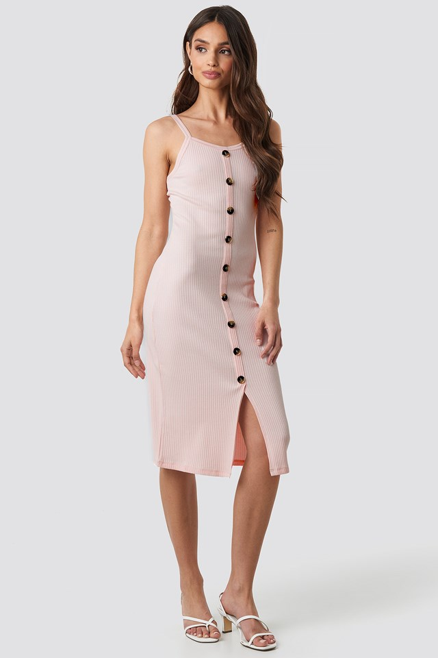 Ribbed Button Up Midi Dress Pink