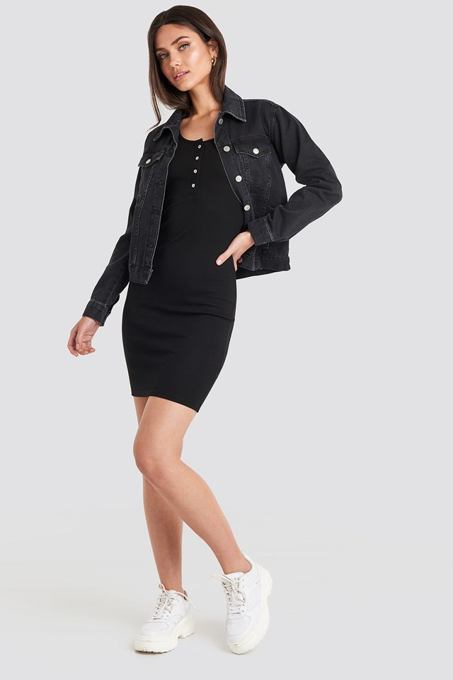 Ribbed Buttoned Dress Black