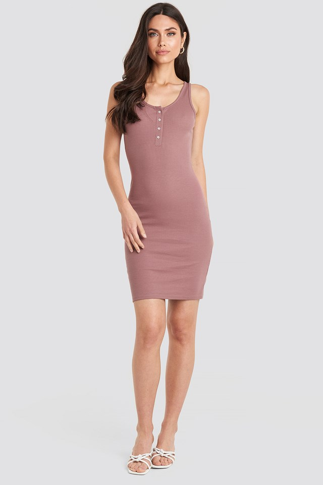 Ribbed Buttoned Dress Dusty Dark Pink