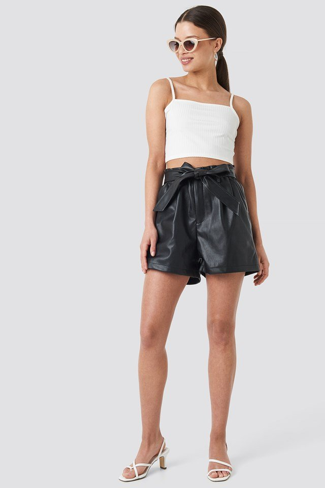 Ribbed Cropped Bandeau Strap Singlet Offwhite