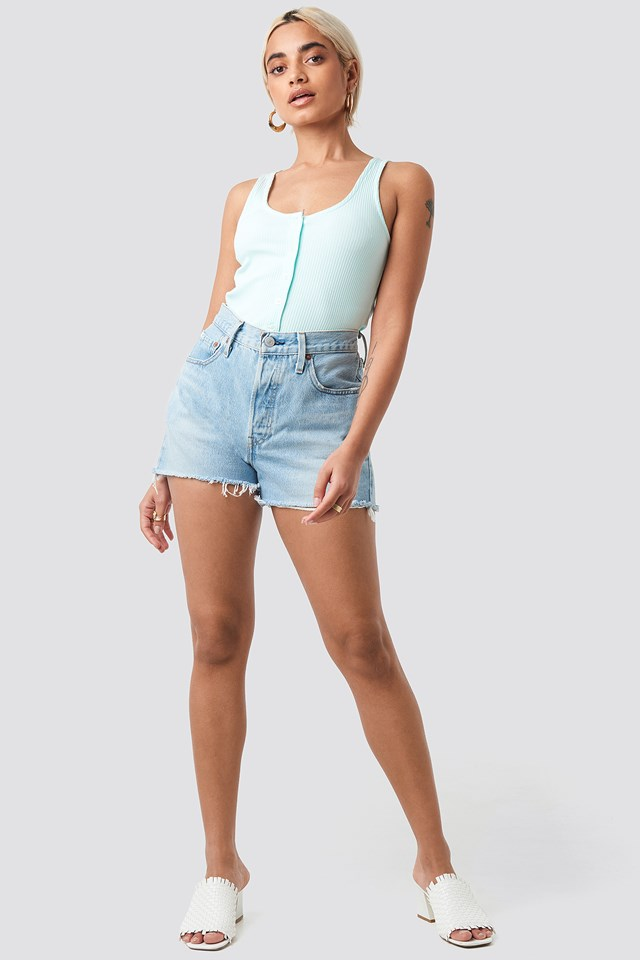 Ribbed Cropped Button Top Pastel Blue