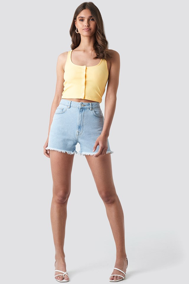 Ribbed Cropped Button Top Light Yellow