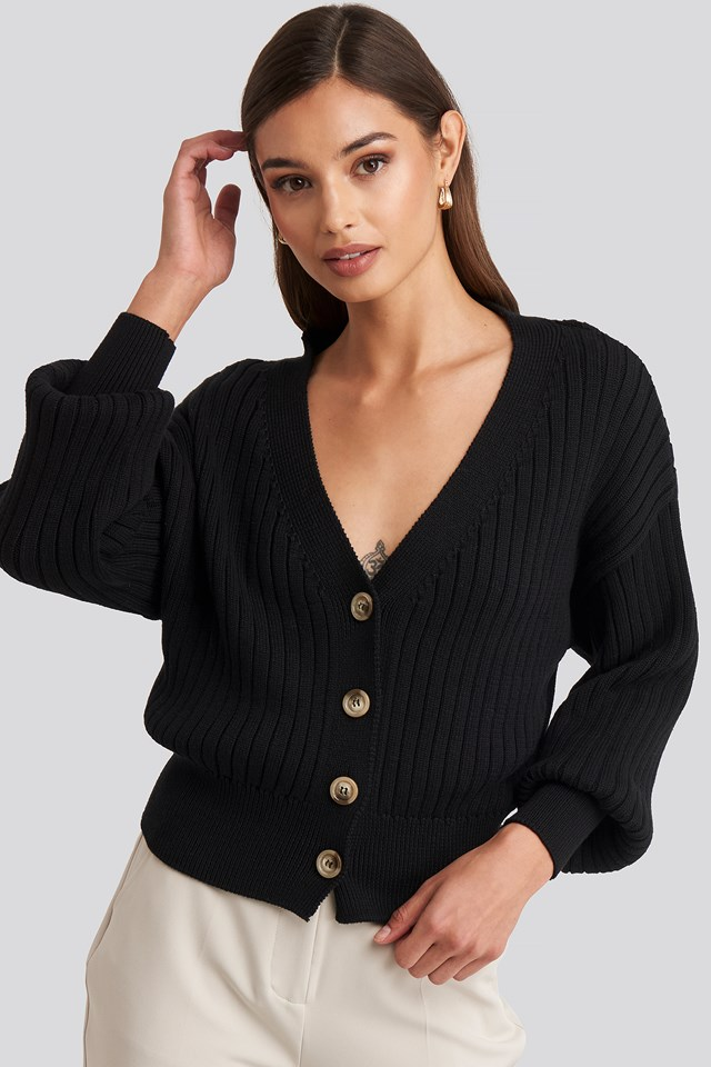 Ribbed Cropped Cardigan Black