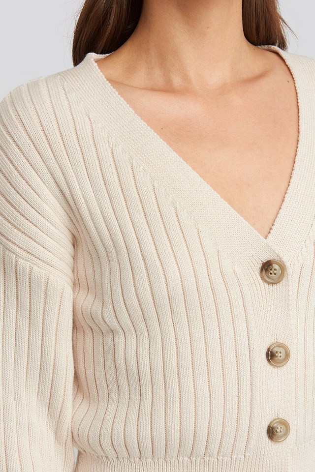 Ribbed Cropped Cardigan Light Beige