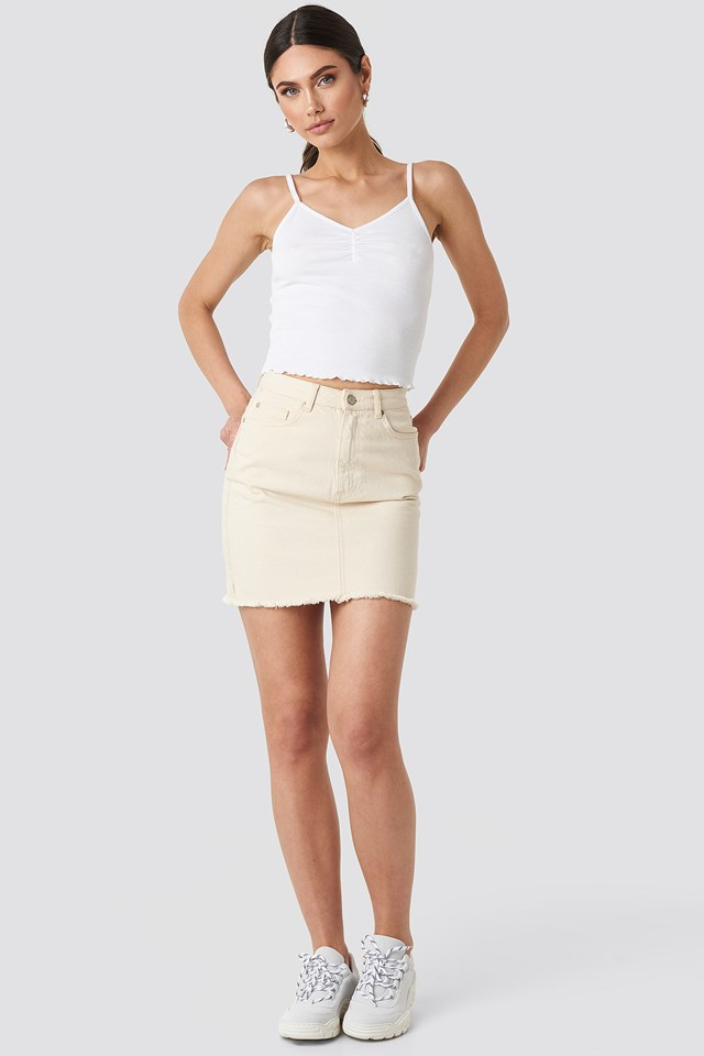Ribbed Cropped Singlet Offwhite