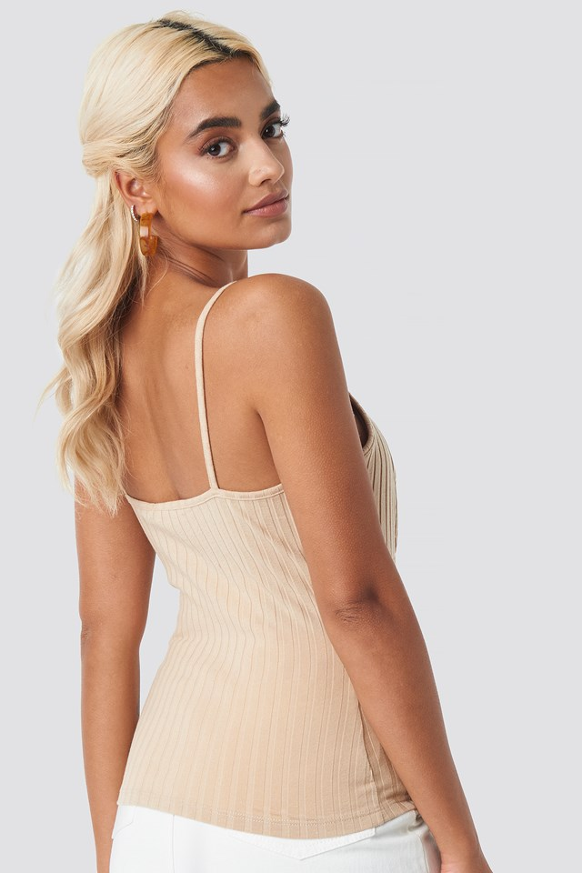 Ribbed Cup Singlet Light Beige