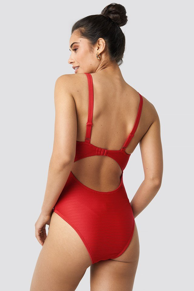 Ribbed Cut Out Knot Swimsuit Red