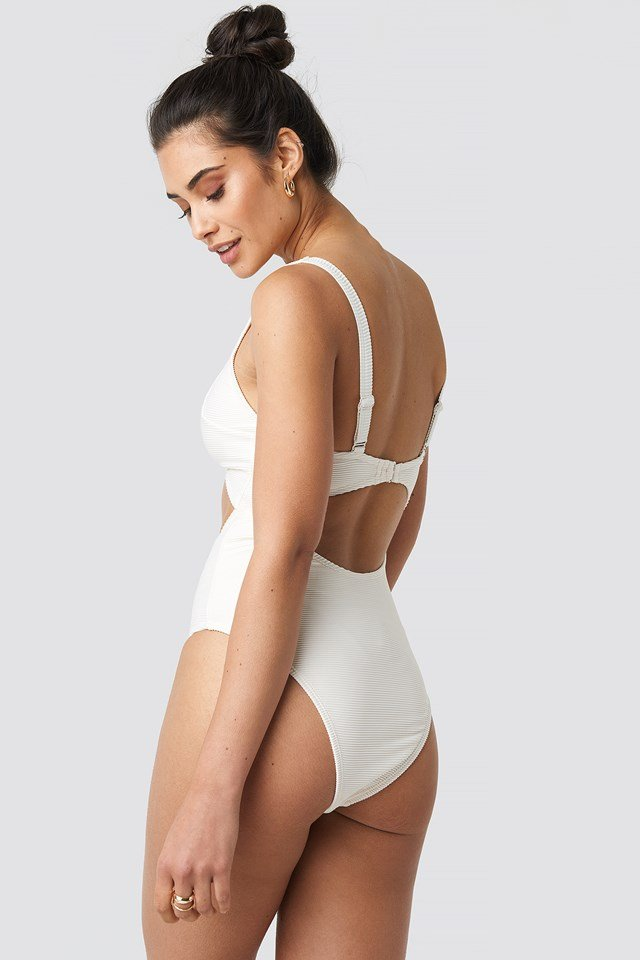 Ribbed Cut Out Knot Swimsuit Offwhite