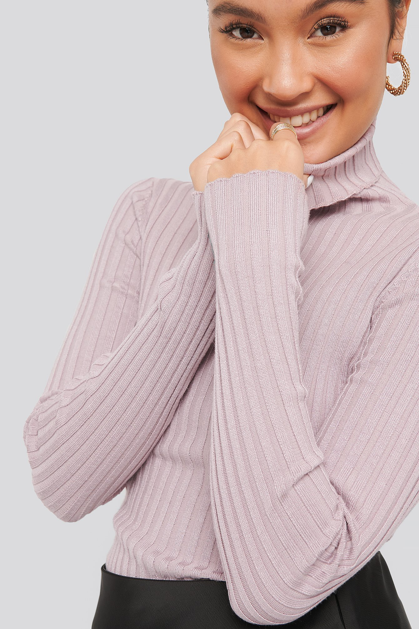 na-kd -  Ribbed Detail Knitted Polo Sweater - Purple