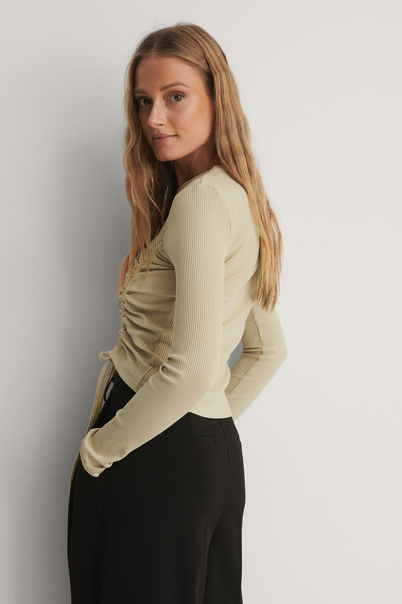 Beige Ribbed Drawstring Top