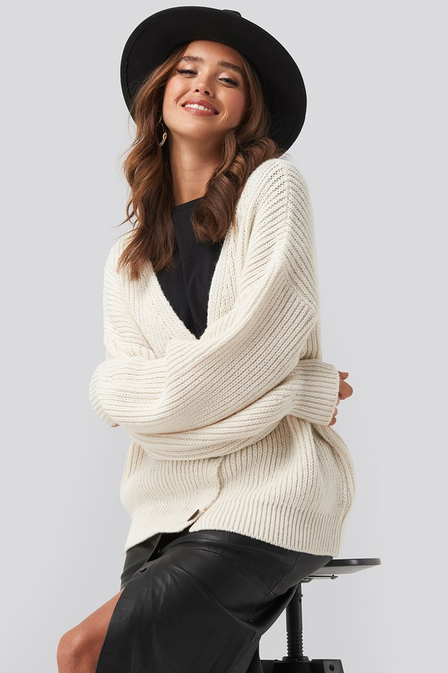 Ribbed Drop Shoulder Cardigan White